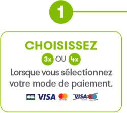 1° Choisissez 3X ou 4X lorsque vous sélectionnez votre mode de paiement
